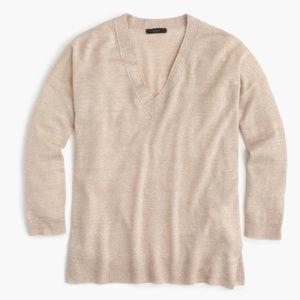 J. Crew Merino Wool-linen V-neck Sweater